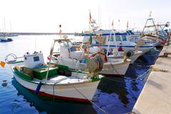 Javea xabia fisherboats in port at alicante spain Stock Photos