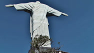 Stock Video Footage of Back of Christ statue from Corcovado, Brazil, shot from magnetic stair