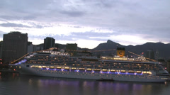 Costa Pacifica in port of Santos, evening time Stock Footage