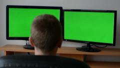Man setup monitor (computer) - green screen Stock Footage