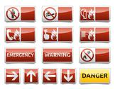 Stock Illustration of danger warning sign mini set