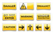 Stock Illustration of danger yellow sign mini set