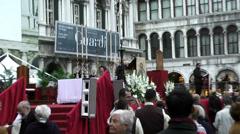 Venice-San Marco Square, religious manifestation Stock Footage