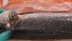 Cut off salmon head Stock Footage