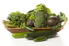 Group of fresh organic assorted green vegetables Stock Photos