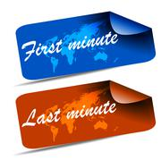 First minute and last minute travel web tag Stock Illustration