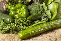 group of fresh organic assorted green vegetables - stock photo