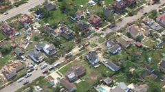 Helicopter and aerial Goderich Ontario tornado damage Stock Footage
