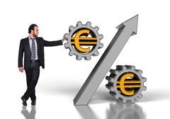 businessman pushing percent - stock illustration