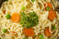 homemade quick ramen noodles - stock photo