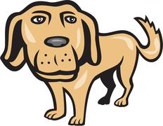 retriever dog big head isolated cartoon - stock illustration