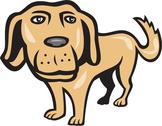Stock Illustration of retriever dog big head isolated cartoon