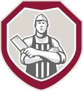 Stock Illustration of butcher with meat cleaver shield retro