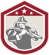 fireman firefighter fire hose shield retro - stock illustration