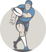 Stock Illustration of rugby player running ball isolated cartoon