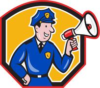 Stock Illustration of policeman shouting bullhorn shield cartoon