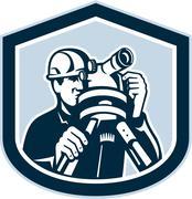 Stock Illustration of surveyor surveying theodolite shield retro