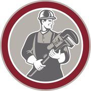 plumber holding giant wrench woodcut circle - stock illustration
