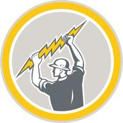 electrician holding lightning bolt side retro - stock illustration