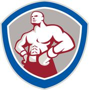Boxer with hands on hips shield Stock Illustration