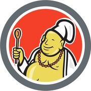 fat buddha chef cook cartoon - stock illustration