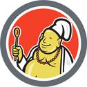 Stock Illustration of fat buddha chef cook cartoon