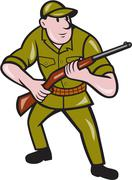 hunter carrying rifle cartoon - stock illustration