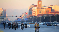 Traffic and pedestrians on Changan Road, Beijing, china. - stock footage