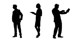 Multiple Silhouettes Of Busy Business People Stock Footage