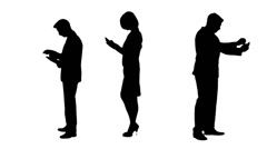 Multiple Silhouettes Of Business People On Phones Working Stock Footage
