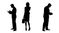 Multiple Silhouettes Of Business People Using Phones Stock Footage