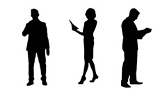 Multiple Silhouettes Of Busy Business People Working Stock Footage