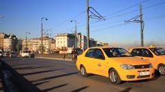 Car traffic on the Galata Bridge Stock Footage