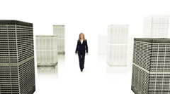 Slow-Mo: Successful Businesswoman Rules The World. Isolated On White Stock Footage