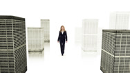 Stock Video Footage of Slow-Mo: Successful Businesswoman Rules The World. Isolated On White