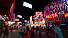 Thailand, Pattaya, 12 February 2014. Famous Walking Street by Night. Stock Footage