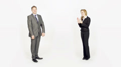 Slow-Mo: Businesswoman Prasing Her Colleague Stock Footage
