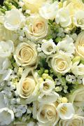 white wedding arrangement - stock photo