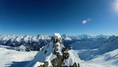 Mountains peak. snow winter landscape. aerial view. fly over Stock Footage