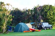 Stock Photo of maitai bay conservation campsite
