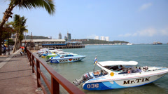 Thailand, Pattaya, February 2014. Speedboats at anchor. Stock Footage