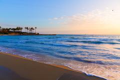 javea el arenal beach sunrise mediterranean spain - stock photo