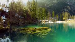 lake resort. pond turquoise water. nature background. aerial view. fly over - stock footage