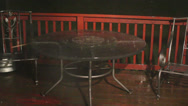 Stock Video Footage of Hail from thunderstorm hitting table on deck