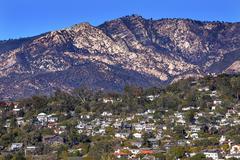 houses  suburbs mountain santa barbara alifornia - stock photo