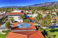 Stock Photo of court house orange roofs buildings mission houses santa barbara california