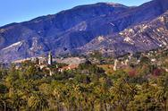 Stock Photo of mission santa barbara mountains palm trees california