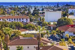 Offshore platforms courthouse main street orange roofs buildings pacific ocea Stock Photos