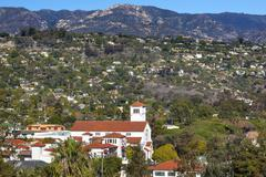 White adobe methodist church houses mountain santa barbara alifornia Stock Photos