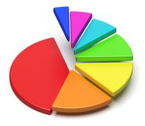 Colorful pie chart in shape of ascending stairs Stock Illustration